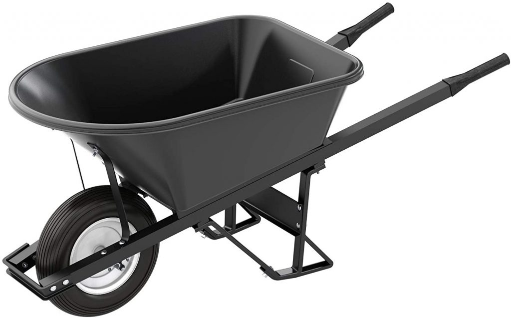 Bon 28 908 Premium Contractor Grade Poly-Tray Single Wheel Wheelbarrow with Steel Handle and Ribbed Tire, 5-3/4 Cubic Feet