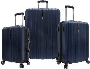 Travelers Choice Tasmania Spinner Luggage Navy 3 Piece Set