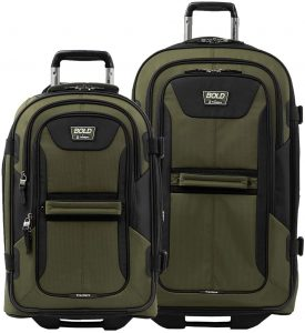 Travelpro Bold Softside Expandable Rollaboard Upright Luggage, Olive/Black, 2-Piece Set (22/28)